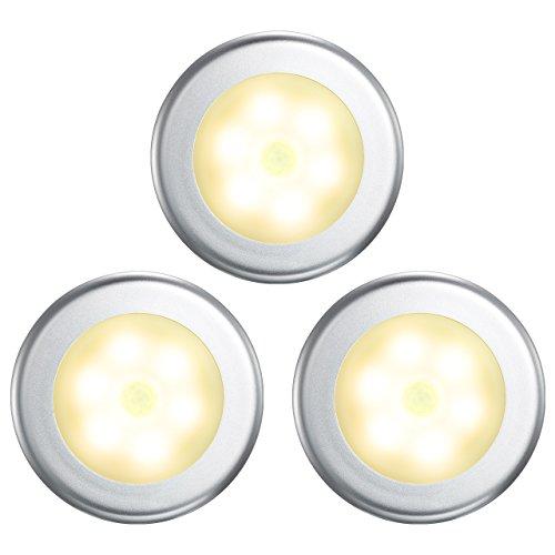 VicTsing Luz Nocturna con Sensor Movimiento a Pilas (3PCS con 18 LEDs), Luz LED Armario con Auto Encendido/Apagado, Luz de Noche para Armario, Pasillo, Escalera, Garaje, Cocina y Habitación