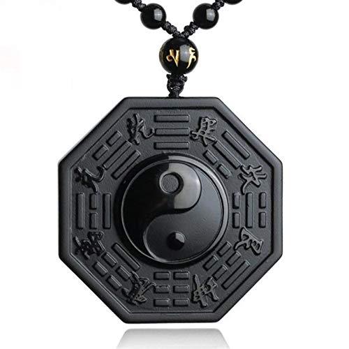 jinyi2016SHOP Bagua Espejo Ornamental Feng Shui Bagua Espejo Negro obsidiana Yin Yin Yang Collar Colgante joyería de los Hombres Chinos joyería de Las Mujeres Feng Shui Bagua Espejo