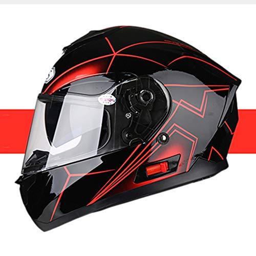 Stella Fella Casco para hombre, casco de motocicleta, con Bluetooth, para coche, eléctrico, para cuatro temporadas, diseño de personalidad, color negro y rojo