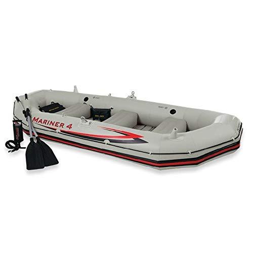Huangxiaofang Gommone Explorer Kayak Assault Boat Dinghy Fondo Rigido Spesso anticollisione Marinaio Professionale Gommone for Quattro Persone (Colore : Grigio, Dimensione : 328x145x48CM)