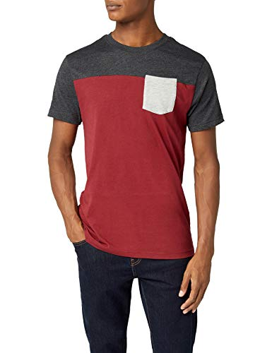 Urban Classics T- Shirt 3-Tone Pocket Tee, Multicolore (Burgundy/Char/Gry), (Taille Fabricant: Small) Homme