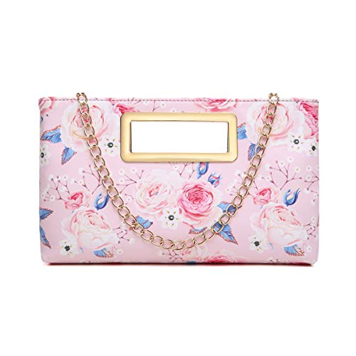 Aitbags Clutch Purse for Women Evening Party Tote with Shoulder Crossbody Chain Strap Lady Handbag - Pink Floral