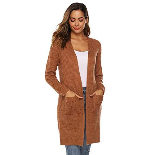 TOSISZ Frauen-Lange Hülsen-strickende unregelmäßige geöffnete große Taschen-Strickjacke-Kap-beiläufige Mantel-Bluse Kimono-Jacken-Wolljacke Winter, Kaffee, S