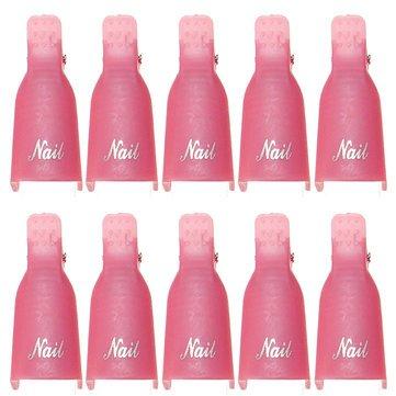 EgBert 10Pcs UV Gel Polish Remover Clips Caps Nail Cleaner Outils De Manucure - Rose