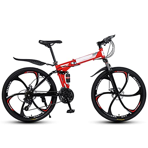Lazzzgua Folding Mountain Bike, 26 Inch Adult Folding with Six Cutter Wheels and Double Disc Brake, Premium Full Suspension and 27 Speed Gear Bicycle Racing Ride MTB