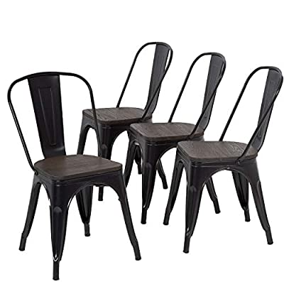 Metal Dining Chairs Set of 4 Patio Chairs Furniture Indoor Outdoor Chairs Kitchen Metal Chairs Stackable Chair Tolix Side Bar Chairs Wooden Seat 18 Inch Seat Height Restaurant Chair