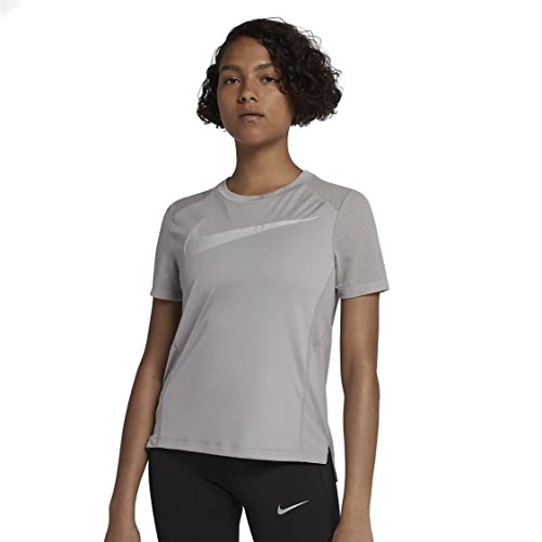 Nike W Nk Dry Miler Top Ss Hbr - atmosphere grey/vast grey - T-Shirts-Tanks-Damen, Größe:M