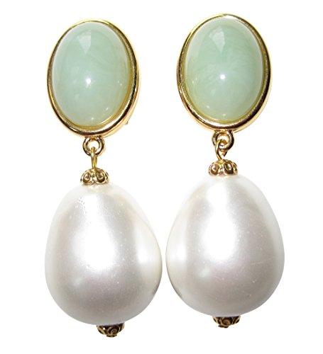 Pendientes de clip ligeros de color verde claro, muy grandes, dorados, con piedras de jade y colgante de color verde y perla blanca, gota de estilo glamuroso de JUSTWIN