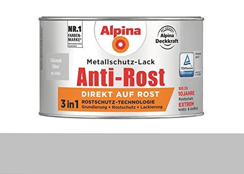 Alpina 300 ml Metallschutz-Lack, 3in1 Direkt auf Rost, RAL 9006 Silber Glänzend