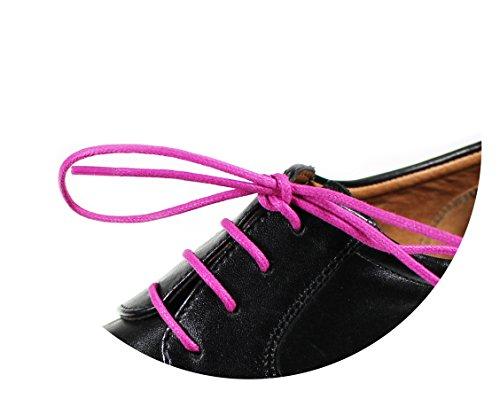 Loco!Laces - lacci per scarpe cerati, colorati, rotondi, per scarpe eleganti e in pelle, lunghezza: 80cm, diametro: 2,5mm, Rosa (3x rosa), Schnürsenkel