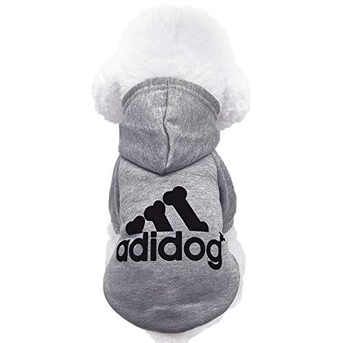 Moolecole Pet Sports Apparel Cat & Dog Cold Weather Coats Dog Hoodies Pet Sweaters (S, Grey)