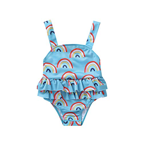 BemeyourBBs Costume da bagno per bambina estivo Rainbow One Piece Bikini Costume da bagno Blu 18 mesi