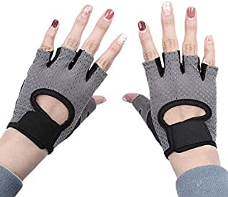 TOOGOO Half Finger Gloves Sports Fitness Breathable Mesh Palm Non-Slip Yoga Driving Cycling Summer Half Finger Ladies Gloves Gray Small