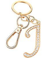 Keychain for Women AlphaAcc Purse Charms for Handbags Crystal Alphabet Initial Letter Pendant with Key Ring,Letter J