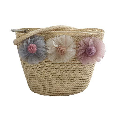 FENICAL Bolso bandolera de paja Flor de encaje tejida Bolsa de playa Tejida Messenger Bag para niñas (beige)