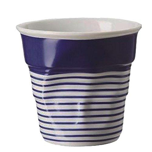REVOL RV646077 Tasse Cappuccino Froissé, Porcelaine, Blanc/Bleu, 8,5 x 8,5 x 8,5 cm