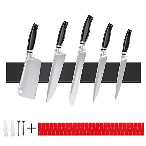 Barra Magnética para Cuchillos,40CM Soporte Magnético Cuchillos,Portacuchillas Magnético de Acero Inoxidable,para el Almacenamiento de Cuchillos de Cocina,Iman para Cuchillos