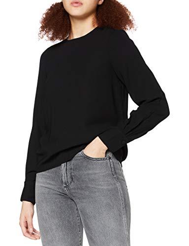 VERO MODA Damen VMGABBY L/S TOP SOLID NOOS Bluse, Schwarz (Black Black), 42 (Herstellergröße: XL)