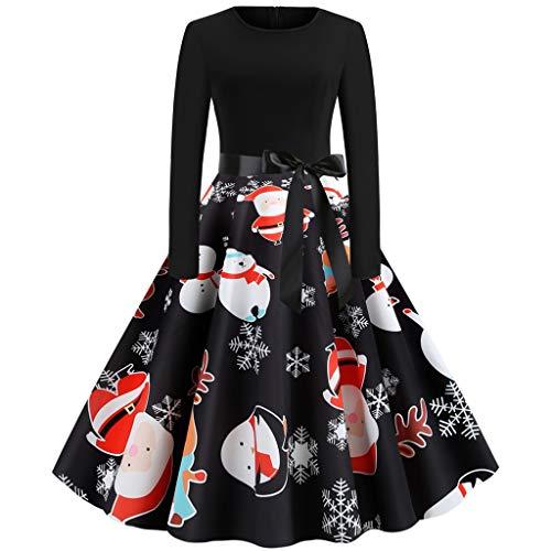 Dasongff Weihnachtenkleid Damen Elegant Abendkleid Vintage Weihnachten Party Kleid Brautkleid Retro Cocktailkleid Rockabilly Minikleid Kleidung Xmas Print Festlich Party Kleider
