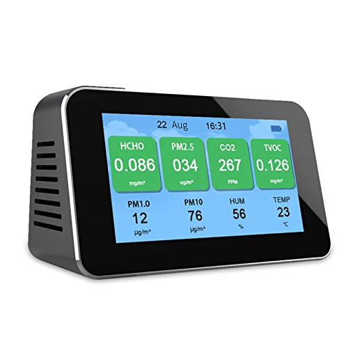MYXE Luftqualitätsmonitor Multifunktionaler CO2-Detektor-tragbarer AQI TVOC-Tester-Messgerät für Home Office-Auto (Color : Black)