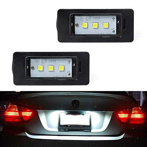 GemPro 2Pcs LED License Plate Light Lamp Assembly for BMW 1 3 5 Series E82 E88 E90 E91 E92 E93 E39 E60 E61 X1 X3 X5 X6, Powered by 3SMD Xenon White Error Free LED lights