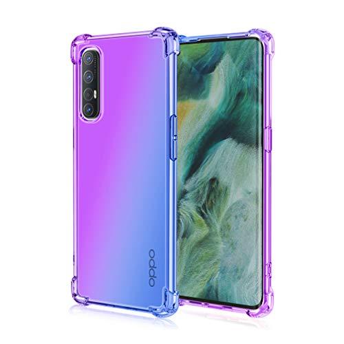 HAOYE Hülle für Oppo Find X2 Neo Hülle, Farbverlauf-TPU Handyhülle, [Vier Ecken Verstärken] Weiche Transparent Silikon Soft TPU Hülle Schock-Absorption Durchsichtig Schutzhülle (Lila/Blau)