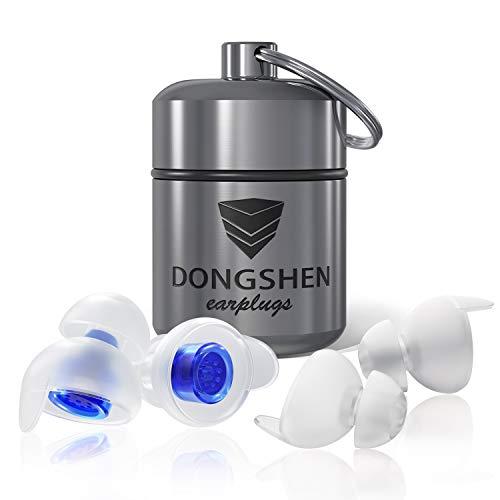 DONGSHEN Schlafen Gehörschutz Ohrstöpsel zum Schlafen und gegen Schnarchen,Dämpft Lärm & Verbessert den Schlaf,mit Alubehälter-2 Zusätzliche Stöpsel Für Kleine Ohren (Blua)