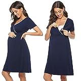Aibrou Umstandskleid Umstandsnachthemd Damen Stillnachthemd Schlafanzug Lang Kurzarm V Ausschnitt Nachthemden für Schwangere oder stillende Frauen (Dunkelblau-1, X-Large)