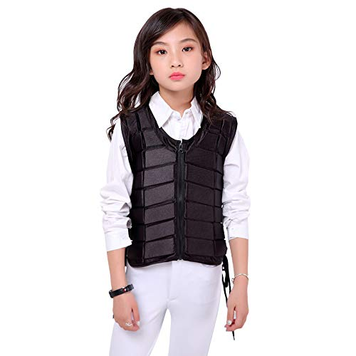 UNISTRENGH Unisex Kids Equestrian Protective Vest EVA Padded Safety Horse Riding Protective Gear Body Protector Guard Shock Absorption Waistcoat (Black, S)