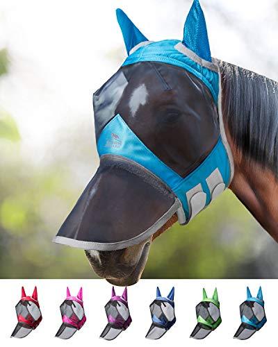 Harrison Howard CareMaster PRO Luminous Maschera Anti-Mosche per Cavallo UV Protezione Pieno Volto Cielo Blu (M; COB)