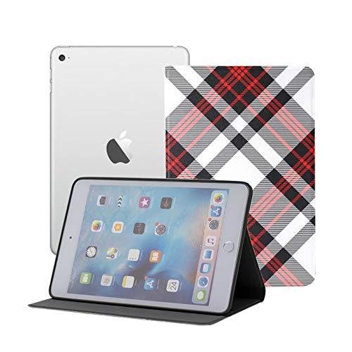 FolioCaseIpad Seamless Tartan Plaid Stripes Red CuteIpadMiniCover Ipad Mini 1/2/3 Auto Sleep/Wake with Multi-Angle Viewing for Ipad Mini 3/ Mini 2/ Mini 1