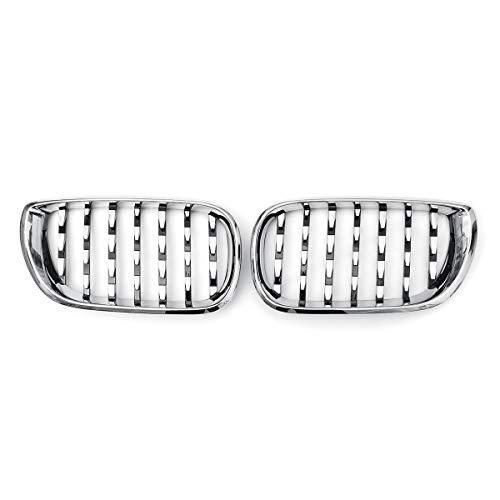 MZQ-DM Rejilla de riñón Delantero, Estilo de Diamante Chrome Carry Grill para BMW E46 4 Puertas 2002 2003 2004 2005 Parrillas de Carreras de automóviles