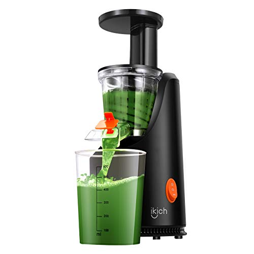 Slow Juicer IKICH 64RPM Golden Ratio Speed Slow Masticating Juicer with 200W Quiet Efficient Motor, Reverse Function, BPA-Free, Cold Press Juicer