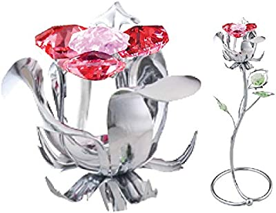 "Limited time Promotion:Free Valentine's Logo Mascot Chrome Plated 7.25"" Rose Crafted with World Renowned Genuine Swarovski Crystal Best Gift for Women Her Valentine Anniversary Mother's Day Birthday"