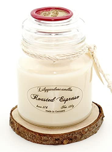Lilygardencandles Roasted Espresso Scented Candle in Glass 37+ Hours Burn Time 100% Soy Wax Aromatic Sweet Coffee Scent