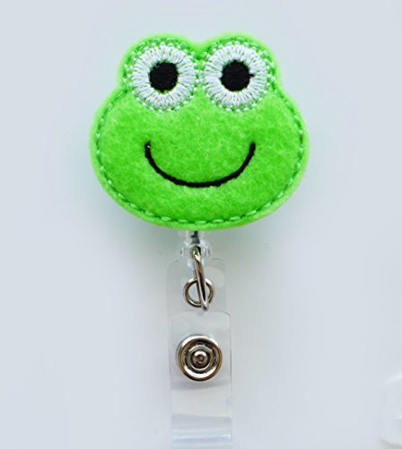 LOVEKITTY - Frog Felt Retractable ID Badge Reel  Name Badges  ID Badge Holder  Nursing Badge  Teacher Nurse Great Gift Idea