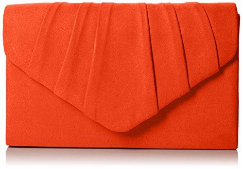 SwankySwans Damen Iggy Suede Velvet Envelope Party Prom Clutch Bag Tasche, Orange (Scarlet 03), One Size