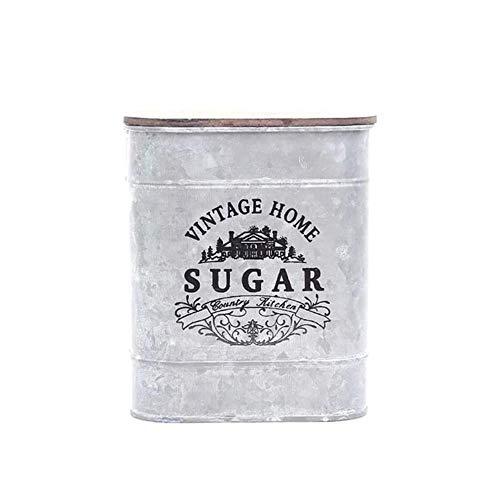 Forome bewaardoos, metaal, vierkant, voor snoep, tin, opbergdoos, vintage, met deksel van hout, voor koffie, thee, kruiden, sieraden Sugar