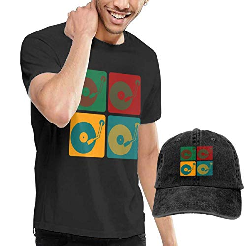 Henrnt Kurzarmshirt T-Shirts Herren, Turntable Music Vinyl Record Dj Tees Short Sleeve Denim Hat