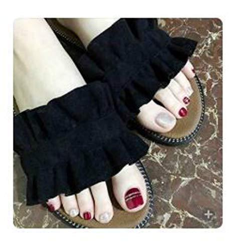 Mimei 24 STKS 3D Rode Valse Nagels voor tenen, teen Valse Nagels Rood met Kristal voor Womens Meisjes Gift Kerstmis Verjaardag Bruiloft
