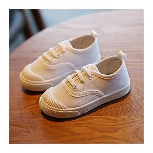 Youpin Zapatillas de deporte para niños y niñas, de tela, color blanco, para el colegio, informales, suela flexible, moda (color: C08 3, talla de zapato: longitud de la suela 18,5 cm)