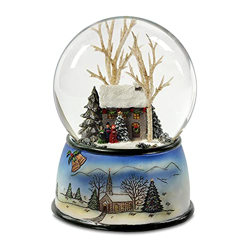 The San Francisco Music Box Company Winter Cottage with Carolers Snow Globe