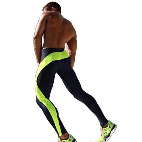 Hosen Herren Leggings für Männer Gamaschen lang Mit Kordelzug Streifen Kompression Thermal Fitness-Hosen Sportstrumpfhosen Gamaschen trainieren Zum Radfahren Laufen Wandern Fitnessstudio (L, Grün)