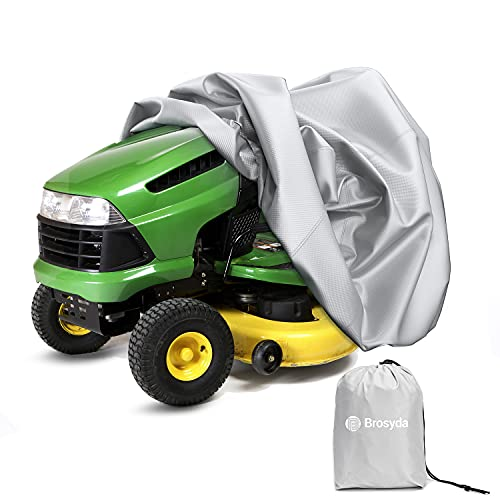 """BROSYDA Lawn Mower Cover, Waterproof Heavy Duty Cover for Tractor and Riding Lawn Mower Fit Decks up to 54"""", 210D Oxford Fabric,UV Protection with Storage Bag¡"""