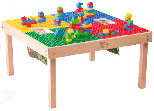 Heavy Duty Large DUPLO Compatible Table with 2 Built-in Lego Storage(Patent)-32' x 32'-Made in The USA!-PREASSEMBLED- Premium Series- Solid Wood Legs & Frames-Ages 1 to 5