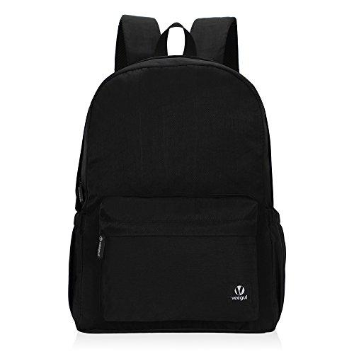 Hynes Eagle Lightweight School Backpack Classic Bookbag for Girls Boys Black