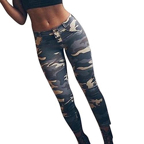 Juleya Damen Camouflage Hose - Sexy Hip Push Up Skinny Slim Fit Mittlere Taillenhose mit Taschen Casual Yoga Fitness Bleistift Hosen Unterteile