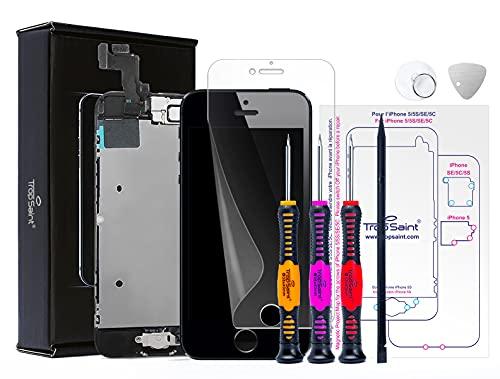 Trop Saint® Pantalla Negra para iPhone SE (2016) - Kit de reparación LCD - con Guía 5 lenguas, Superficie de Trabajo magnética, Herramientas y Film Protector Pantalla