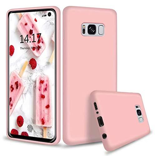FHXD Kompatibel mit Samsung Galaxy S8 Hülle Weich TPU Flüssiges Silikon Schutzhülle+1*Displayschutzfolie Stoßfest Kratzfest Anti-Fingerprint Handyhülle-Rosa