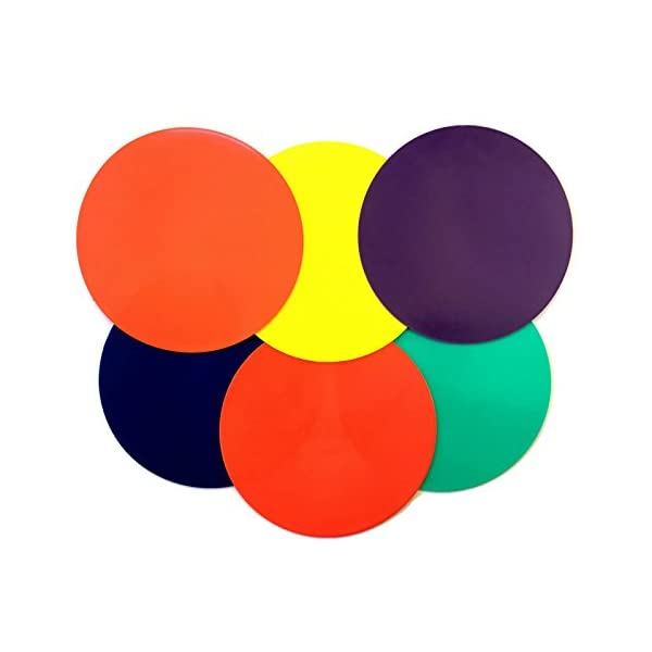 Playscene Training Cones – Set of 6 Multicolored 10″ INCH Highly Durable Vinyl spot Markers (Multicolored Spot Markers)